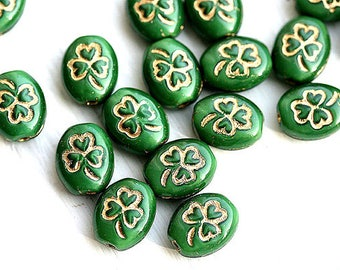 Green Shamrock beads, Golden inlays Czech glass oval beads, Green with golden, 10x8mm - 12Pc - 1282