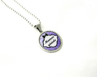 Jewelry necklace MOM MOM custom cabochon, necklace. mothers day gift idea