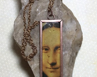 Altered Art Mona Lisa Steampunk Necklace