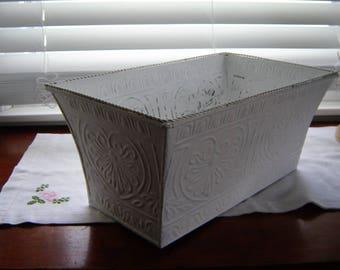 White planter embossed tin flower box home decor patio decor porch decor 14 x 8 inch planter
