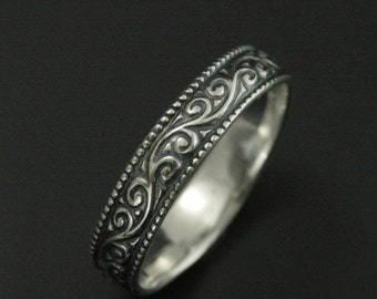Tendrils and Thyme Wide Sterling Silver Wedding Band--Embossed Vine Patterned Silver Wedding Ring--Oxidized & High Polished--Milgraine Edge