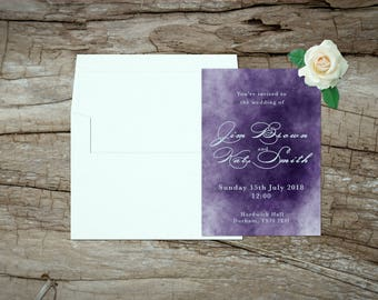 Ink theme Wedding Invitations, Purple Wedding, Custom Wedding invitations, Wedding stationary, printed wedding invitations, Invitation set