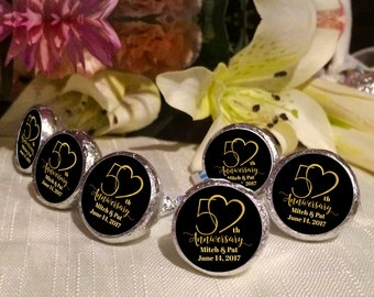 108 Hershey Kiss® Stickers - Hershey Kiss Stickers Bridal Shower - 50th Anniversary Kiss seals  - 50 years Kiss Labels  - Wedding Decor
