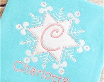 Girls Monogrammed Christmas Shirt, Snowflake Ruffled Shirt, Baby Girl Christmas, Sibling Shirt, Big Sister Little Sister Shirt, embroidered
