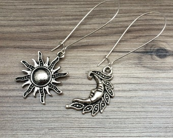 Sun and Moon Charm Dangle Earrings; sun jewelry, sun and moon jewelry, bohemian earrings, hippie, dangle sun and moon, gifts for friendship