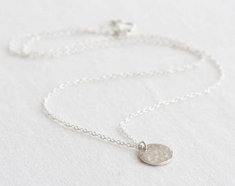 Silver disc necklace - hammered sterling disc necklace, tiny disc necklace, dainty silver necklace, silver circle necklace, gift for her
