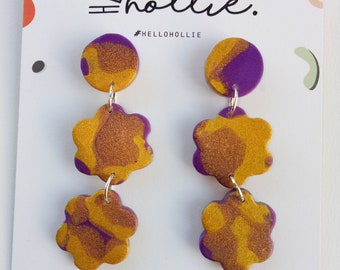 Hello Petal Dangles - Pearl Purple & Gold