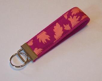 Key Fob Wristlet - Key Chain - Key Ring - Kaffe Fassett - Fuschia - Leaves