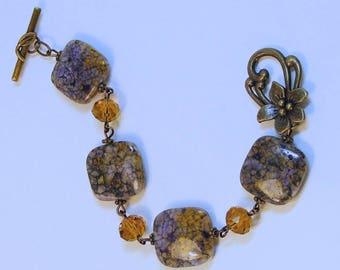 Antique Brass Charoite Topaz Bracelet