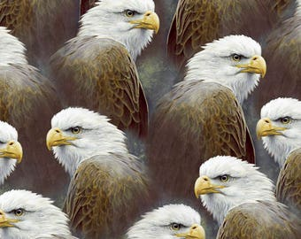 Eagle Fabric Majestic Eagle Heads Feathers Fabric From Quilting Treasures 100% Cotton