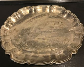 Vintage Oval Silver Plated Tray  Vanity Decor Tarnished Country Cottage International Silver Company