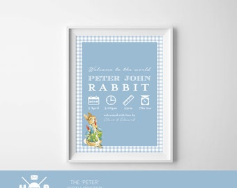 Printable - The 'Peter Rabbit' Birth Announcement Poster | Gift | Nursery Art | Wall Art