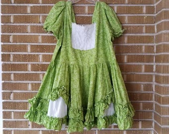 lime green, handmade, plus size, square dancing dress