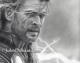 Drawing of Thor (Chris Hemsworth) from Thor: The Dark World