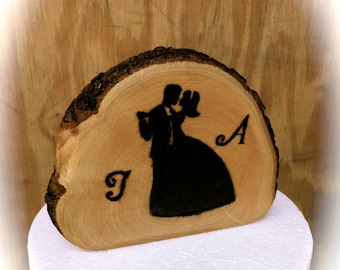Rustic Wedding Cake Topper - Wooden Cake Topper - Bride Groom Wedding Cake Topper