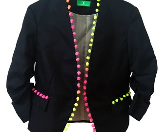 Black neon pompom jacket, pom pom blazer, festival boho Ibiza pompom jacket