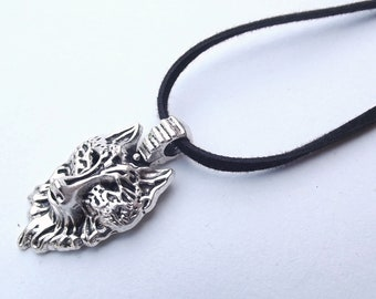 Silver Wolf Head pendant Necklace Fathers Day