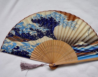 Japanese silk Hand Fan with sleeve -Mount Fuji,Handheld Folding Fan ,folding fan,Hand fan, vintage Japanese,blue hand fan