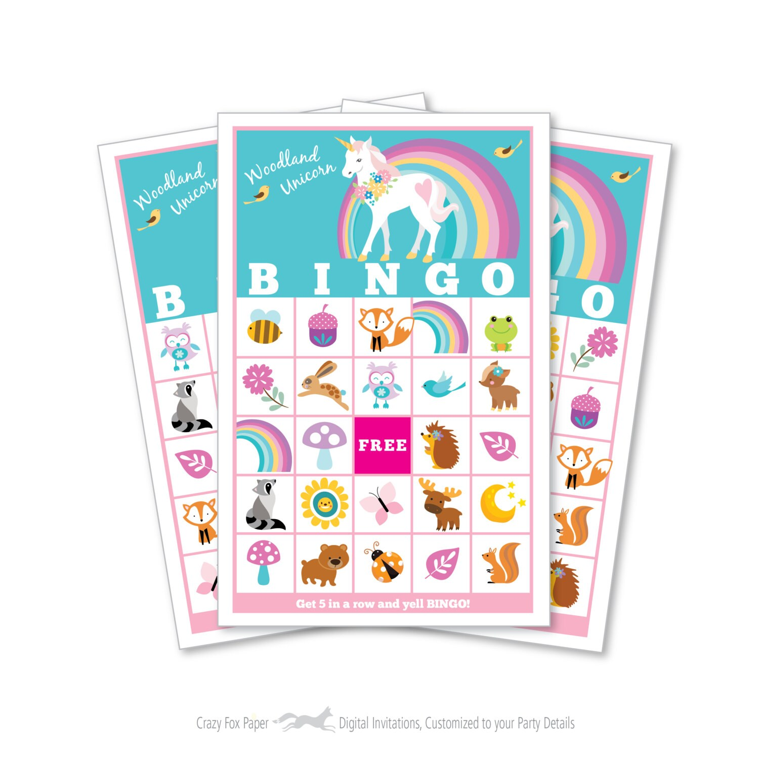 Woodland Unicorn BINGO Game Kid\'s Printable Bingo Game