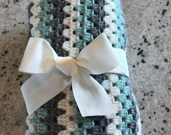 Crocheted Baby blanket for boy or girl in pretty teal, creamy white and gray.  Wouldn't this be such a special new baby gift!