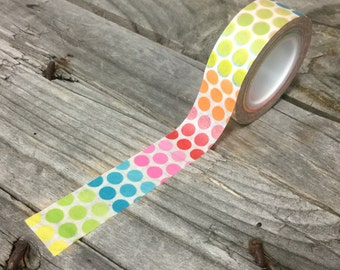 Washi Tape - 15mm - Rainbow Dots on White - Deco Paper Tape No. 681