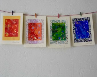 "4 Handmade Cards | Greetings | Abstract Art | Small Artworks | 7"" x 5"" | Chiyogami | Birthday | Anniversary"