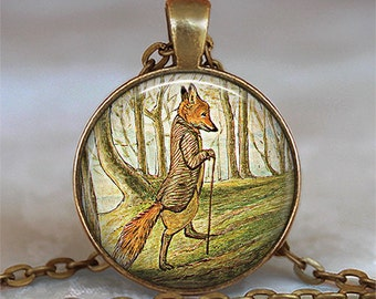 Tale of Mr. Tod Fox necklace, fox pendant fox jewelry fox jewellery Beatrix Potter art pendant key chain key ring key fob keychain keyring