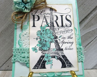 Greeting Card Paris Design Handmade Card