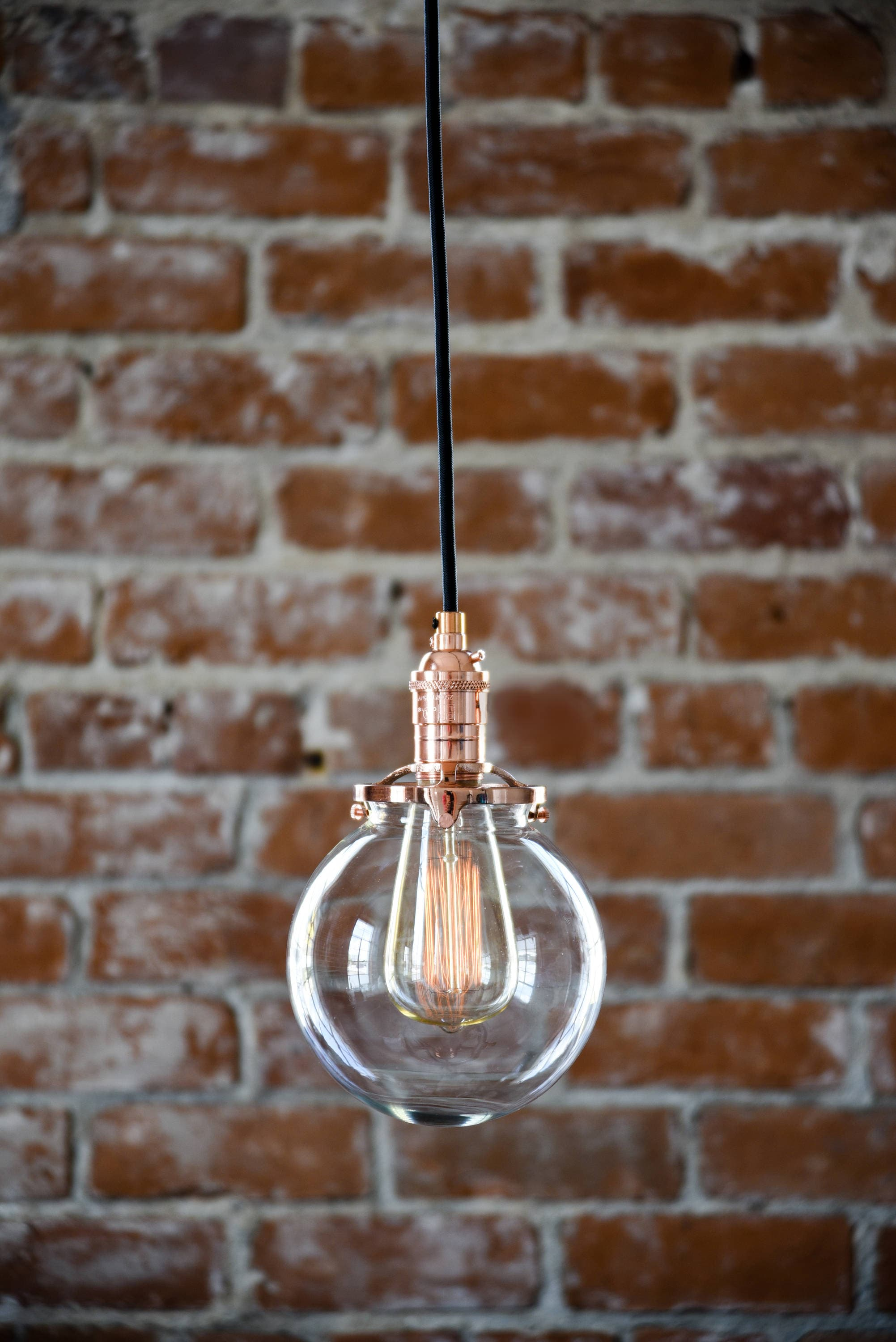 lighting fullxfull copper glass ceilings globe wire ceiling bulb pendant listing ul il in compatible light clear edison canopy mount cloth listed