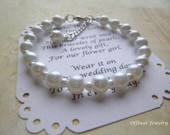 Pearl Flower Girl Bracelet, Pearl Bracelet, Flower Girl Gift, Communion Bracelet, Girls Pearl Bracelet, Flower Girl Jewelry, Bridesmaid Gift
