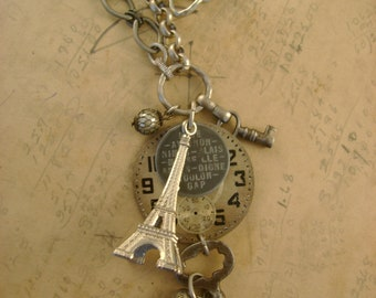 French Travels - Eiffel Tower Transit Token Pocket Watch Dial Keys Recycled Repurposed Jewelry Assemblage Steampunk Necklace