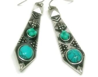 Turquoise Dangle Earrings - Tribal Earrings with Turquoise Cabs - Textured Silver Dangle Earrings - Southwest - Boho - Turquoise Jewelry