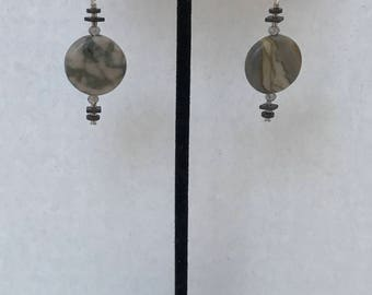 Grey Canyon Marble, Bronzed Hematite, White Gold and Crystal Earrings