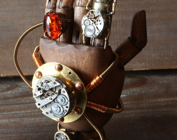 Steampunk Mechanical hand Scupture - Time travelling glove apparatus - Artifact retreiver No.4