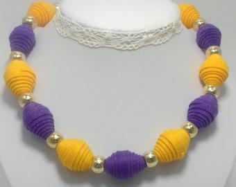 Felted necklace, Felt necklace, Felt beads necklace, Pulple,Yellow,Multicolor, Turquoise felt necklace, Wool necklace, Women Necklace
