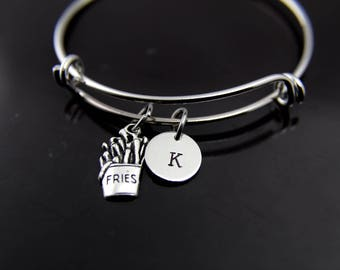 Foodie Gift  French Fries Charm Bangle French Fry Bracelet French Fries Charm Food Charm French Fries Jewelry Personalized Bracelet