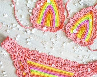 CROCHET PATTERN - Crochet Bikini Colourful Pattern Crochet Bikini Top Crochet Pattern Bikini Bottom Crochet Swimsuit Swimwear Beachwear