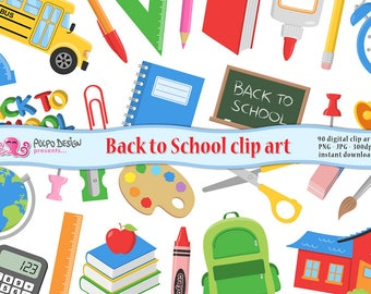 Back to School clipart. Back to School clip art. kids clipart, educational clipart, digital scrapbooking. Commercial Use. Instant Download.