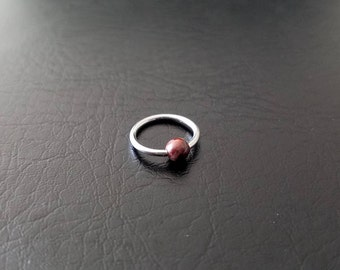 """16g 14g 5/16"""" Red Tiger Eye Stone Steel Captive Bead Ring Small Nostril Hoop Daith Helix Ring Tragus Cartilage Septum Lip Stainless Steel"""