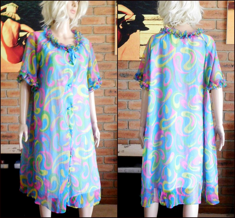 Ralston 1960s multi-coloured nylon button-through dressing gown, tea ...