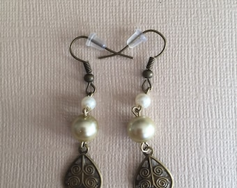 Bronze Pearl Leaf Dangle Earrings