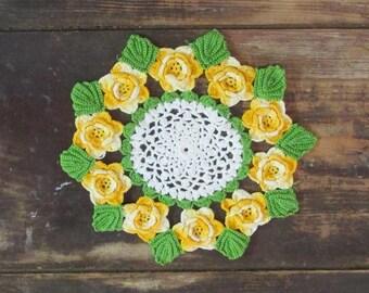 "9 1/2"" Hand Crocheted Yellow Rose Doily"