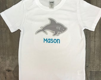 Boys Beach Shirt-- Boys Shark T shirt -- Baby Boys Beach Shirt -- Baby boy bodysuit -- Vacation shirt -- Boys Shark oufit