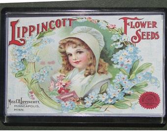 Fridge magnet  Lippincott seeds 1907  handcrafted acrylic retro