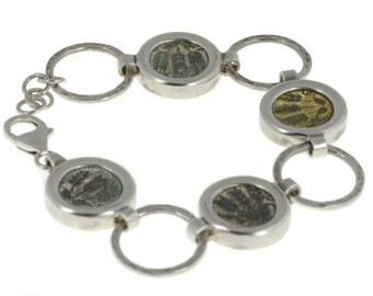 Silver Bracelet with Authentic Roman Coin