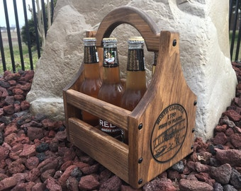 Beverage  Caddy, Wood Beer Caddy, Beer Lover Gift, Man Gift, Rustic Wood , Six Pack Tote, Man Cave,  Personalized Beer Tote, Drink Carrier