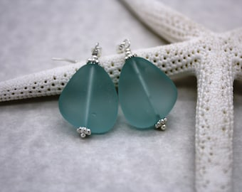 Aqua Blue Sea Glass Earrings Seaglass Earrings Sea Glass Jewelry Beach Glass Earrings Beach Glass Jewelry Beach Jewelry Seaglass Jewelry 070