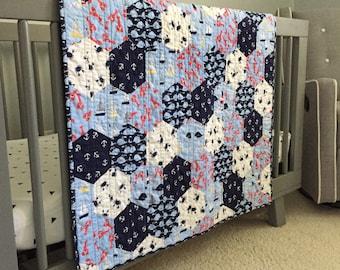 Nautical Baby Quilt | Baby Boy Nursery Decor | Boy Crib Quilt | Baby Whale Blanket | Nautical Crib Quilt | Baby Boy Gift | Boy Crib Bedding