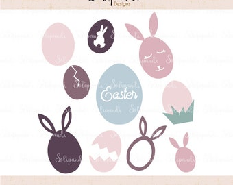 Easter Eggs - SVG and DXF Cut Files - for Cricut, Silhouette, Die Cut Machines // Easter Bunny ears svg// #252