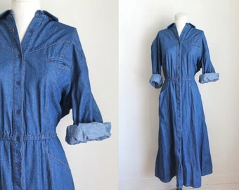 vintage 1980s dress - AVON denim shirt dress / M/L